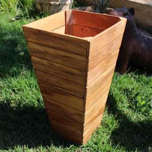 Vaso Cachepot Em Madeira De Demolição - 40cm De Altura