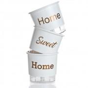 Kit 3 Vasos Autoirrigáveis Home Sweet Home Branco PEQUENO