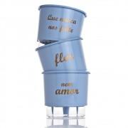 Kit 3 Vasos Autoirrigáveis Nunca Nos Falte Azul Serenity MÉDIO