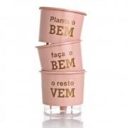 Kit 3 Vasos Autoirrigáveis Plante o Bem Rosa Quartz PEQUENO