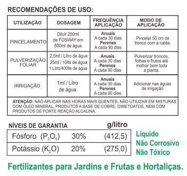 Adubo Fertilizante com Fosfito de Potássio FOSWAY - 1L - Faz 400 Litros