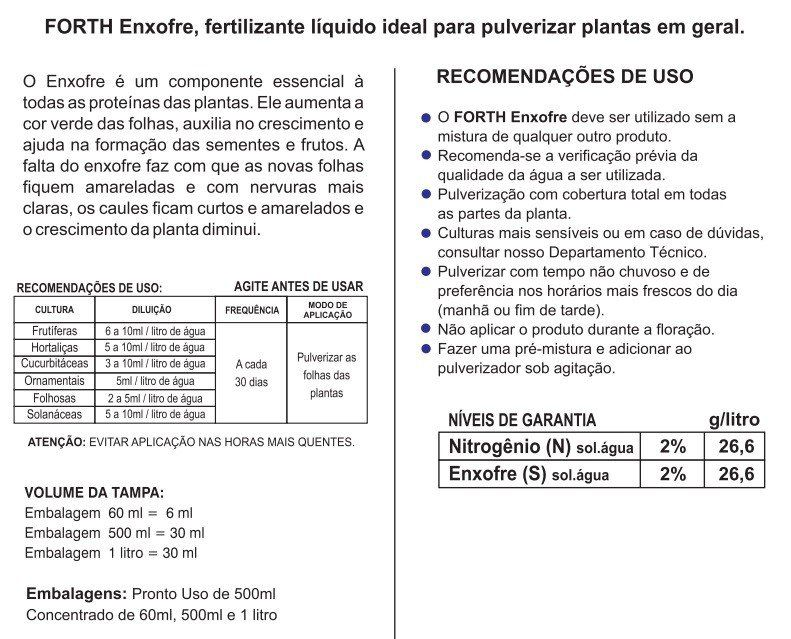 Adubo Fertilizante  - FORTH Enxofre - 500ml - Pronto Uso