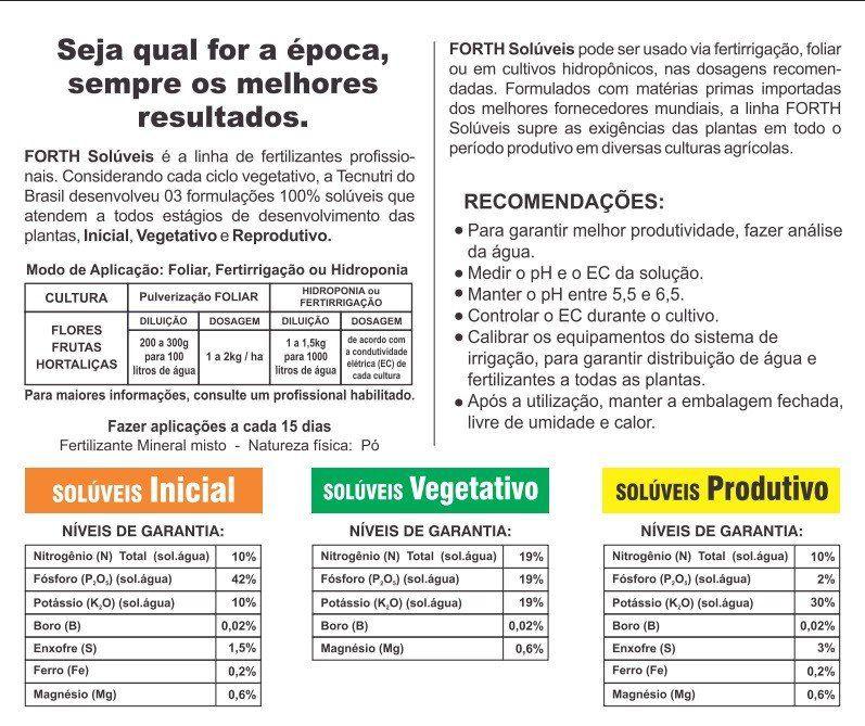 Adubo Fertilizante FORTH Solúveis - Vegetativo - 3kg