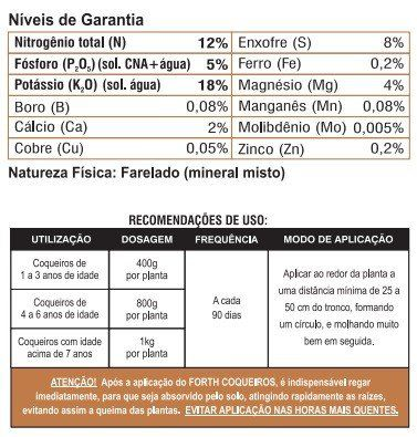 Adubo Fertilizante para Coqueiros - FORTH Coqueiros - 400g