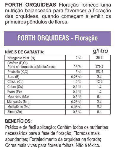 Adubo Fertilizante para Floração de Orquídeas - FORTH Orquídeas - 1 Litro - Faz 200 Litros