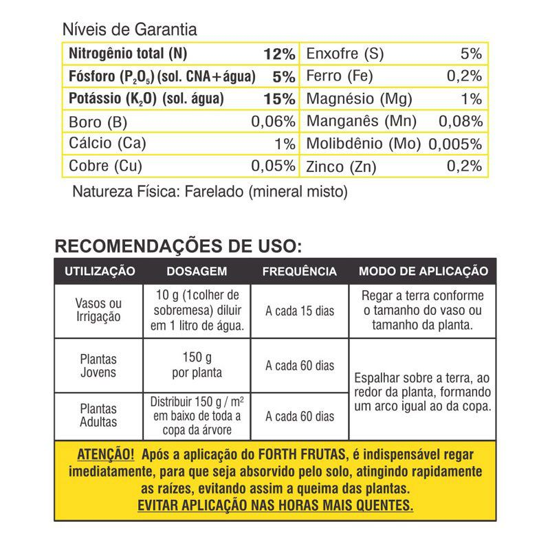 Adubo Fertilizante para Frutas - FORTH Frutas - 3 kg
