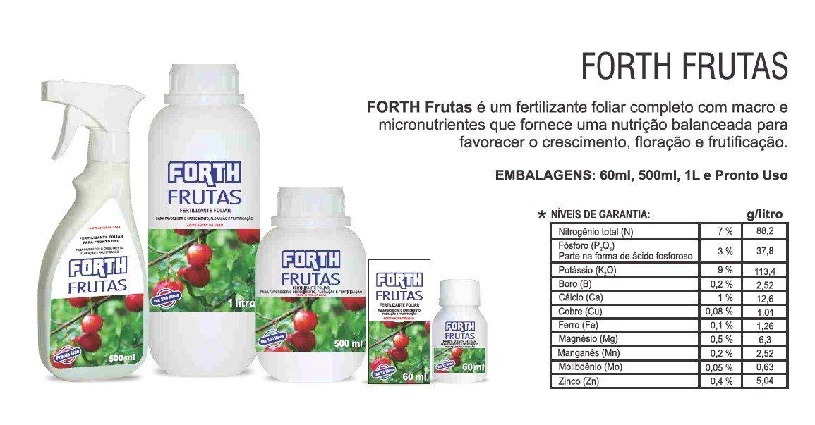 Adubo Fertilizante para Frutas - FORTH Frutas - 500ml Faz 100 Litros