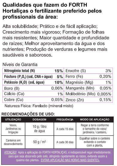 Adubo Fertilizante para Hortaliças - FORTH Hortaliças - 3kg