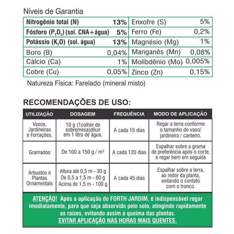Adubo Fertilizante para Jardins e Gramados - FORTH Jardim - 3 kg