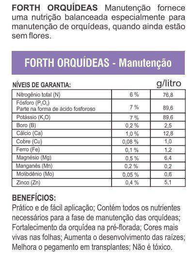 Adubo Fertilizante para Manutenção de Orquídeas - FORTH Orquídeas - 500ml - Faz 100 Litros