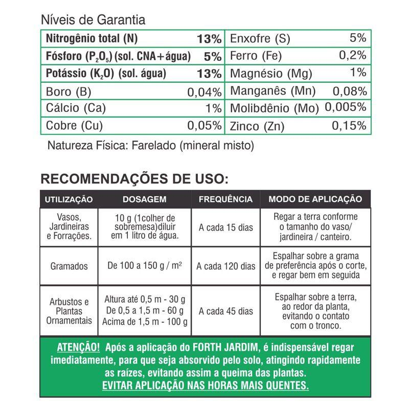 Adubo Fertilizante para Jardins e Gramados - FORTH Jardim - 10kg