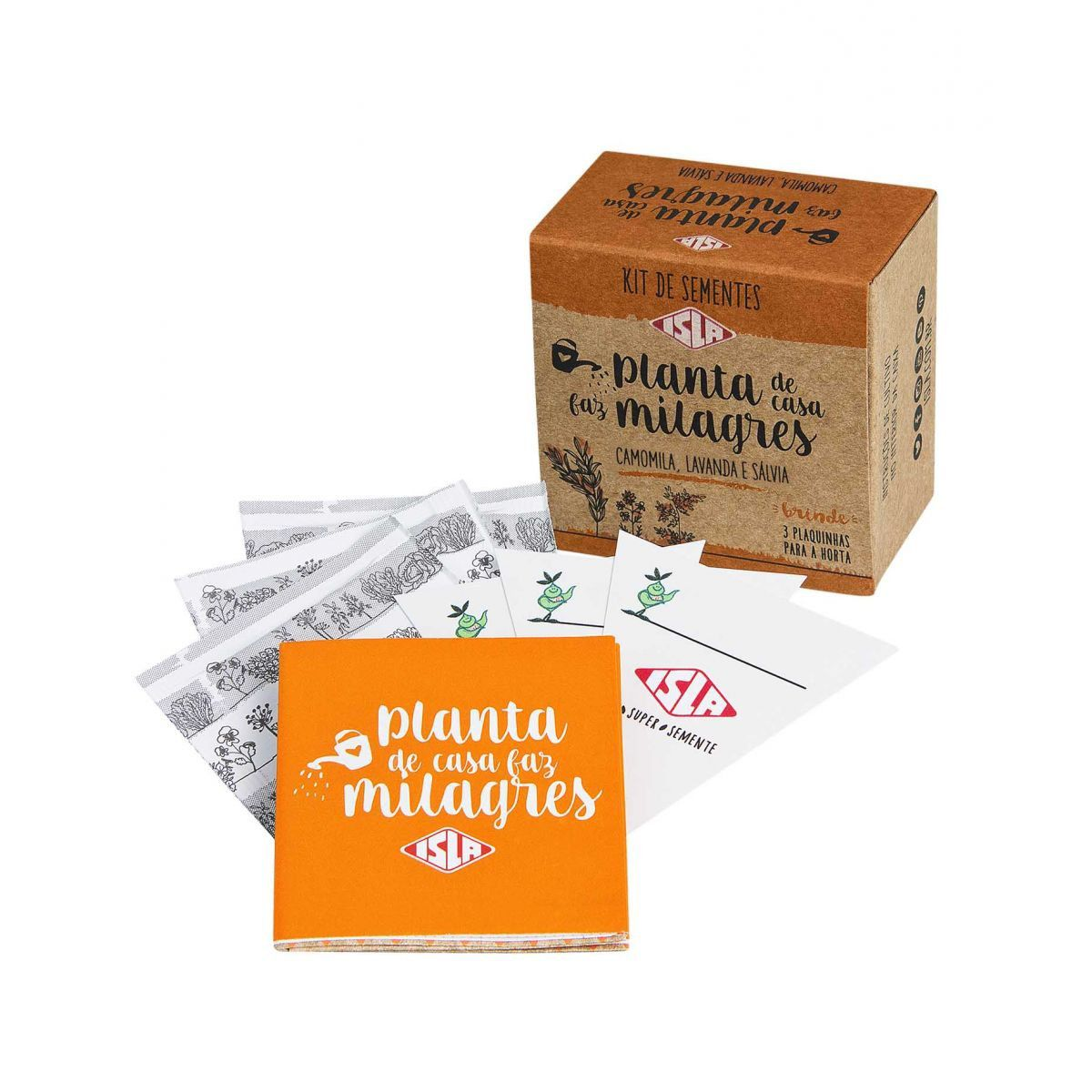 "Kit de Sementes ""Planta de Casa Faz Milagres"" (Camomila, Lavanda e Sálvia)"