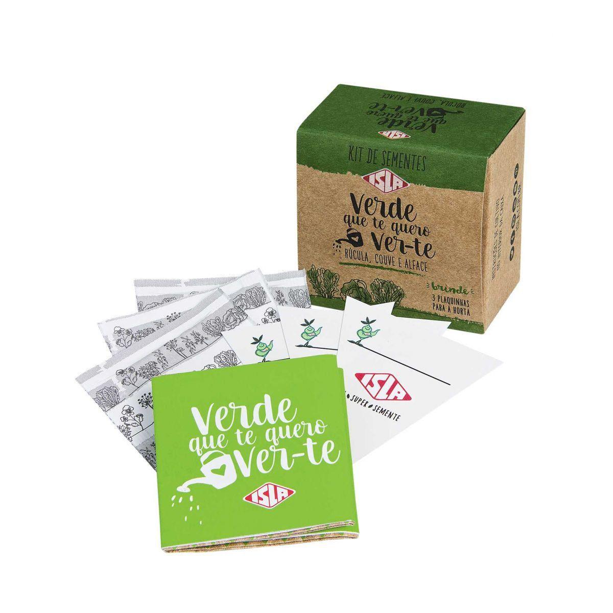 """Kit de Sementes """"Verde que te Quero Ver-te"""" (Alface, Couve e Rúcula)"""