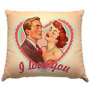 Almofada I love You Casal Vintage 30x30cm com ziper e forro