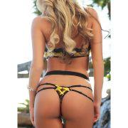 Lingerie Sexy de Renda Amarela Vestido de Uma peça Set