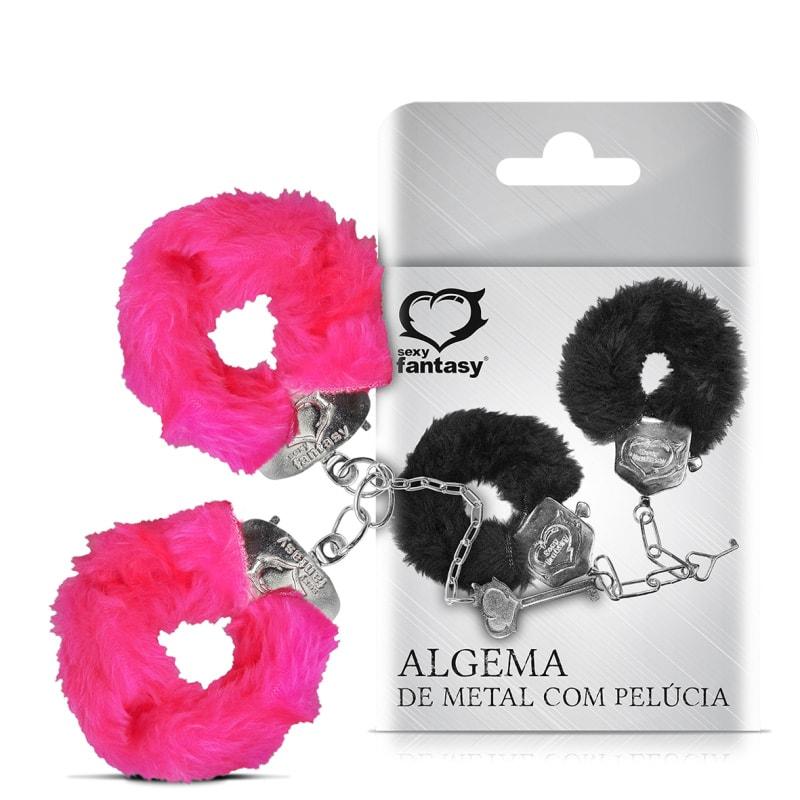Algema de Metal com Pelúcia Rosa - Sexy Fantasy