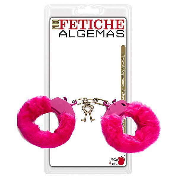 Algema em metal revestida de pelúcia rosa - Adão e Eva