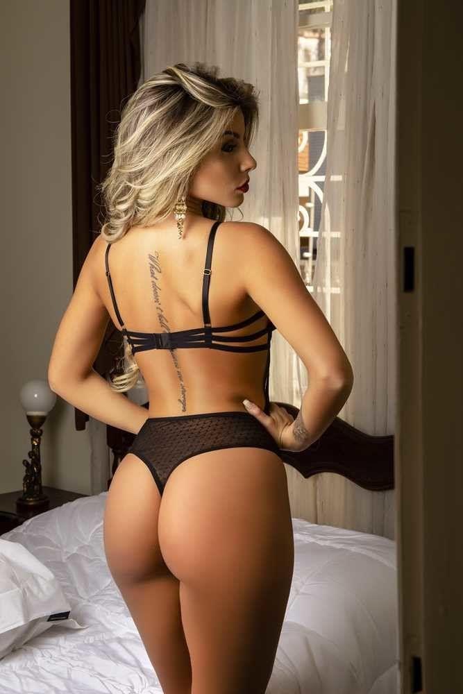 Body Preto sofisticado em tule e laise  - Sex Shop Cuiaba - Sexshop - Sexyshop - Produtos Eróticos
