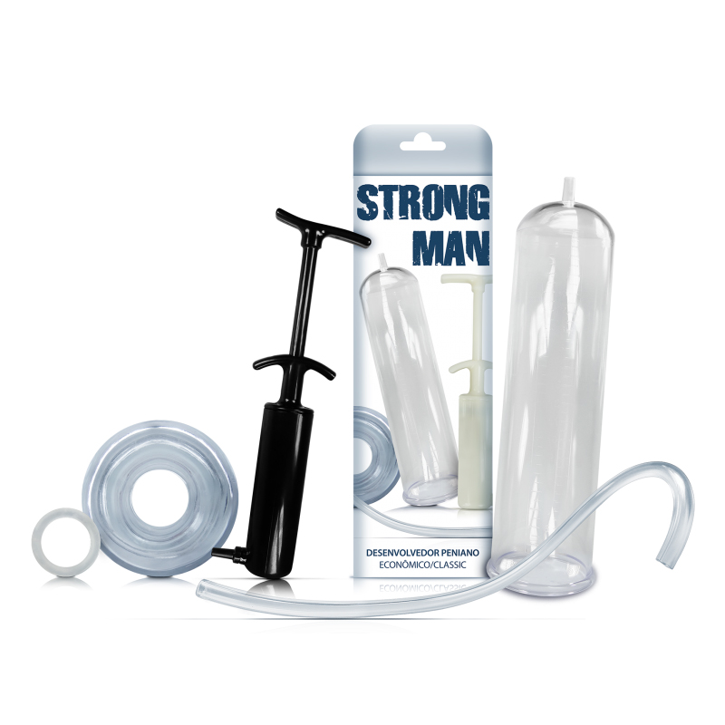 Bomba Peniana Strong Man Manual Preta Tubo