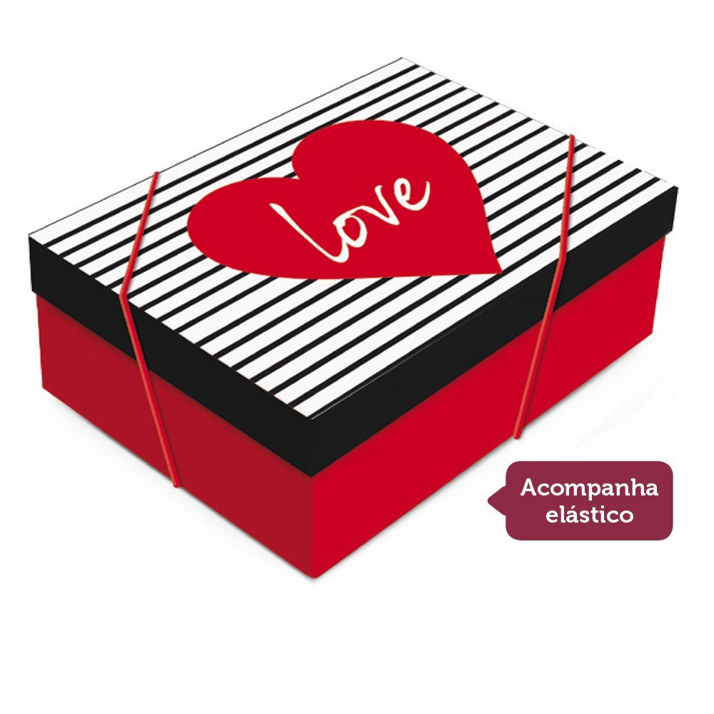 Caixa para presente Love com tampa P 24x18x8