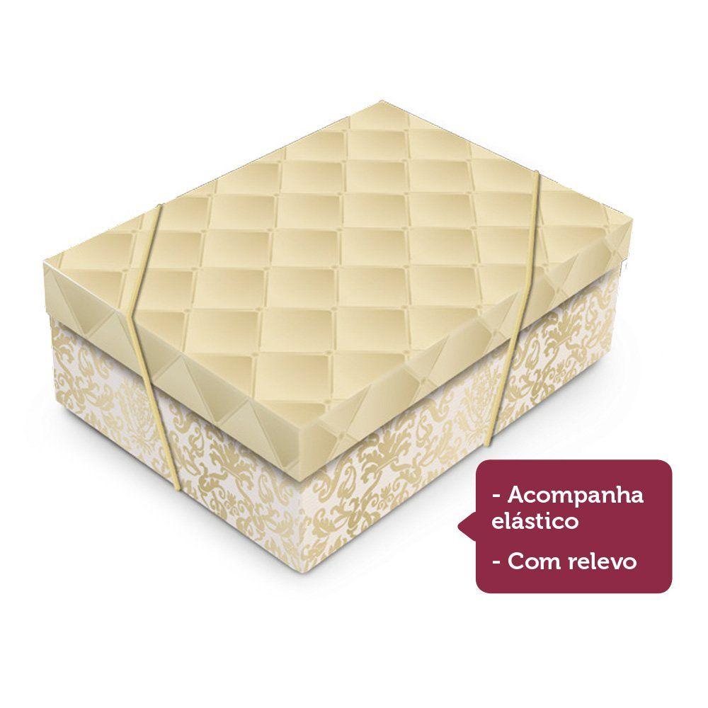 Caixa para presente Luxúria Ouro com tampa P 24x18x8