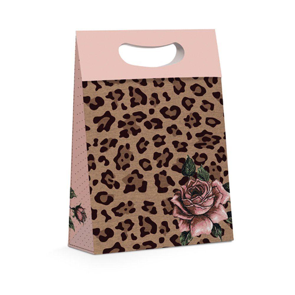 Caixa Plus Leopardo para presente P 18x7,5x25