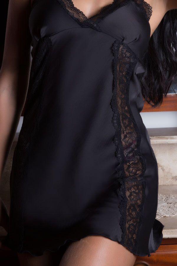 Camisola preta em cetim e renda  - Sex Shop Cuiaba - Sexshop - Sexyshop - Produtos Eróticos