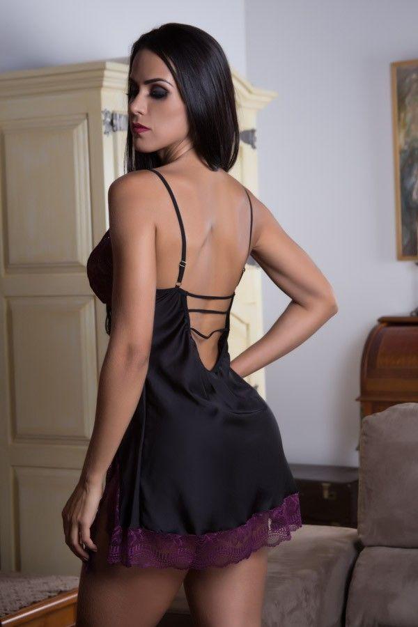 Camisola Strappy Bra preta e roxa com fenda lateral  - Sex Shop Cuiaba - Sexshop - Sexyshop - Produtos Eróticos