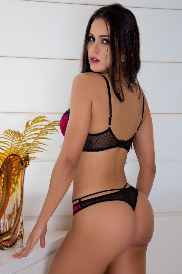 Conjunto sexy de calcinha e sutiã em tule poá e renda rosa e preto  - Sex Shop Cuiaba - Sexshop - Sexyshop - Produtos Eróticos