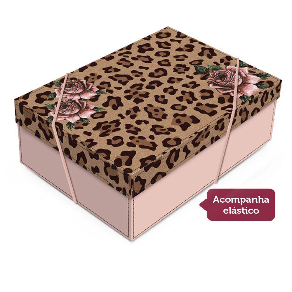 Caixa para presente Leopardo com tampa P 24x18x8