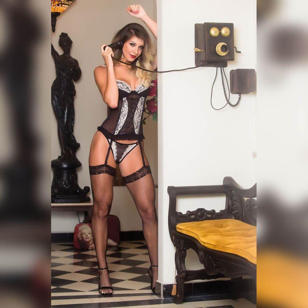 Espartilho em tule Lingerie garota veneno  - Sex Shop Cuiaba - Sexshop - Sexyshop - Produtos Eróticos
