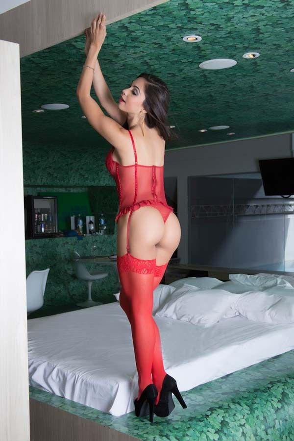 Espartilho Sexy Vermelho em Tule e Renda
