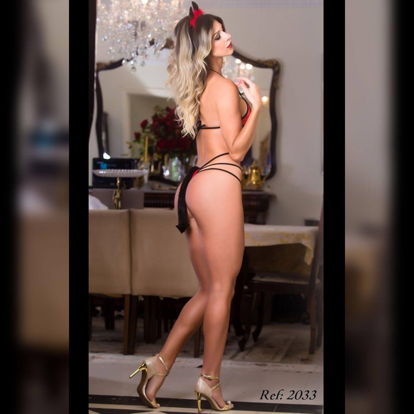Fantasia erótica body diabinha - Garota veneno