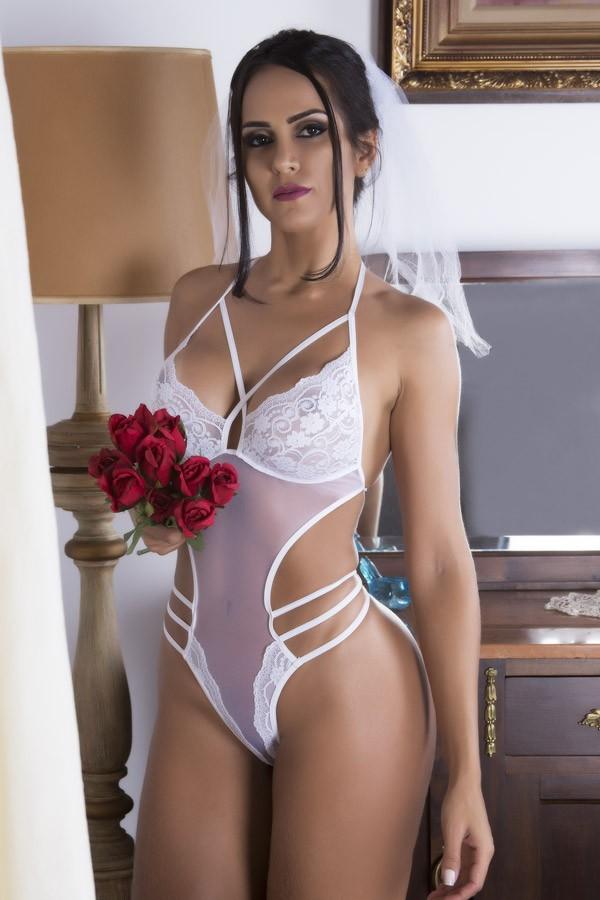 Fantasia erótica Body Noiva Docinho