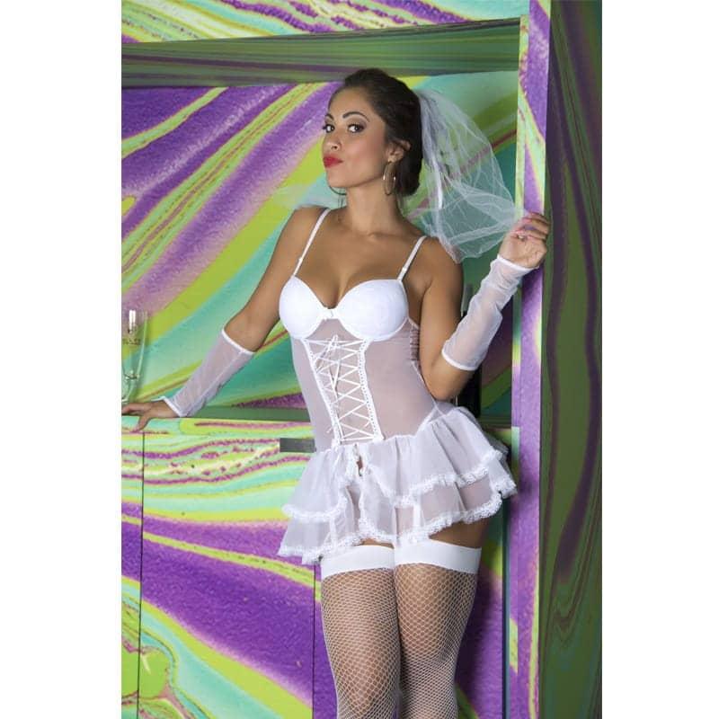 Fantasia Erótica Noiva Com Ligas  - Sex Shop Cuiaba - Sexshop - Sexyshop - Produtos Eróticos