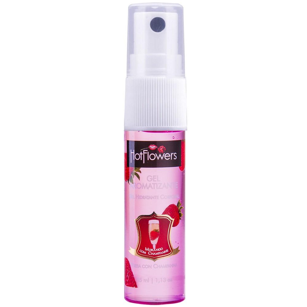 Gel Aromatizante Comestível Morango Champanhe Hot 35ml - Hot Flowers  - Sex Shop Cuiaba - Sexshop - Sexyshop - Produtos Eróticos