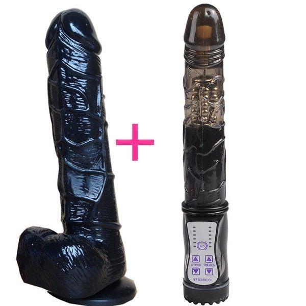 Kit 2x1 Vibrador rotativo com pênis realístico preto - 19cm