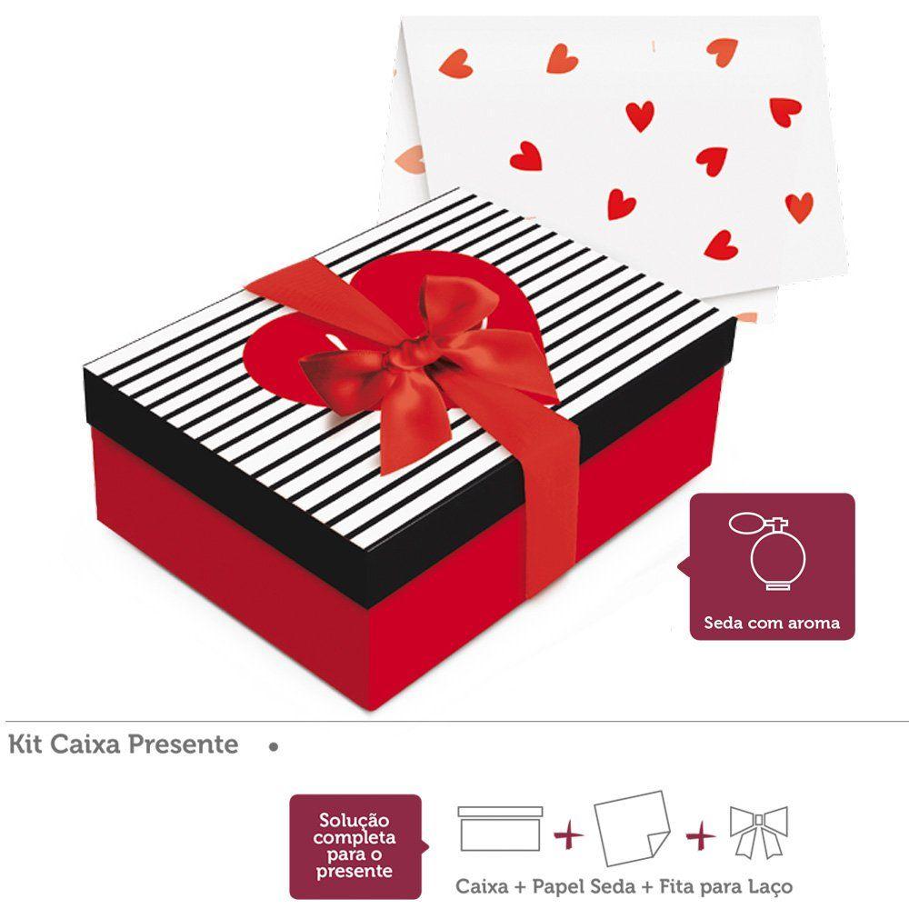Kit presente Love Seda com Aroma caixa retangular P 24x18x8