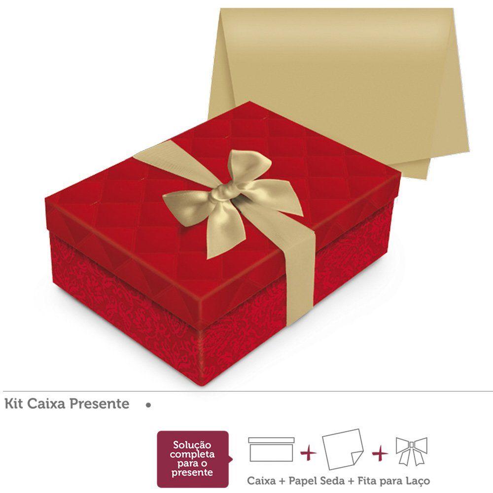 Kit presente Luxúria Vermelho caixa retangular P 24x18x8