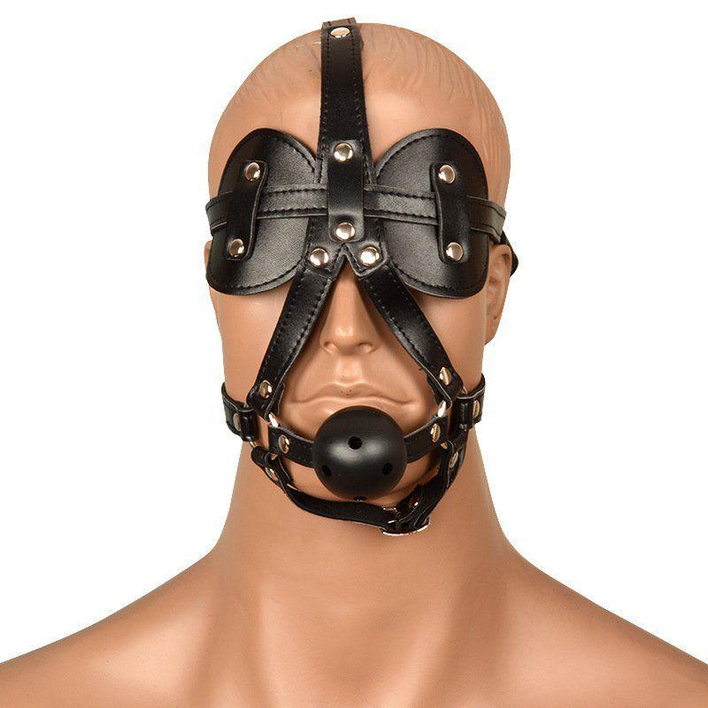 Máscara de cabeça com mordaça - BDSM bondage