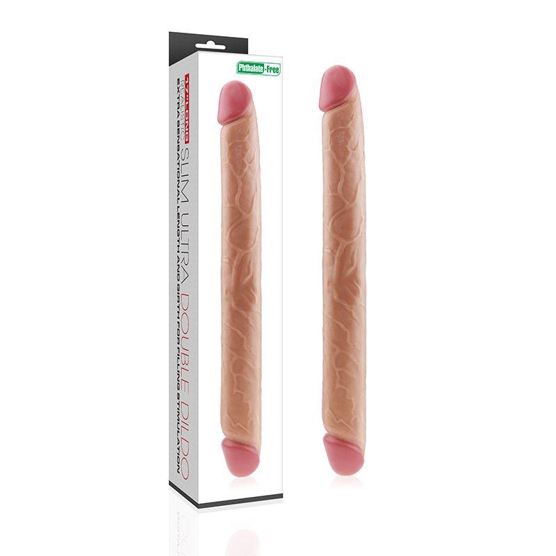 Pênis Duplo Realístico Com Glande Avantajada Slim Ultra Double 43,5 Cm