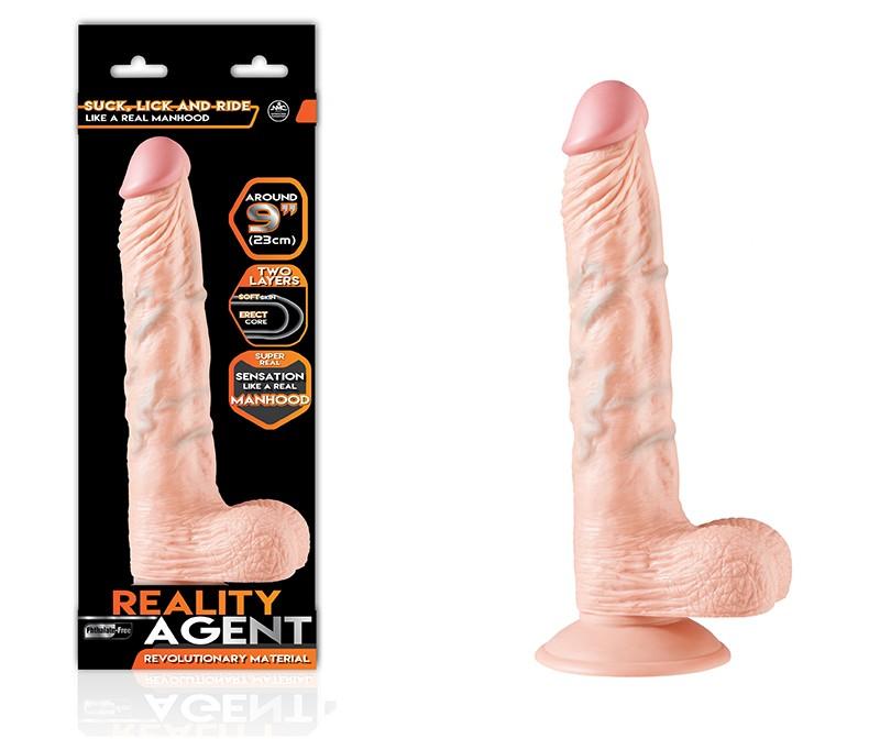 Pênis Realistico 23cm Com Ventosa Reality Agent Livre - Nanma