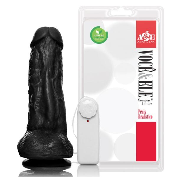 Pênis Realístico com escroto - 19cm (Kong) - Preto