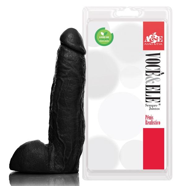 Pênis Realístico do Ator Pornô J.Holmes - 27 x 6 cm Preto