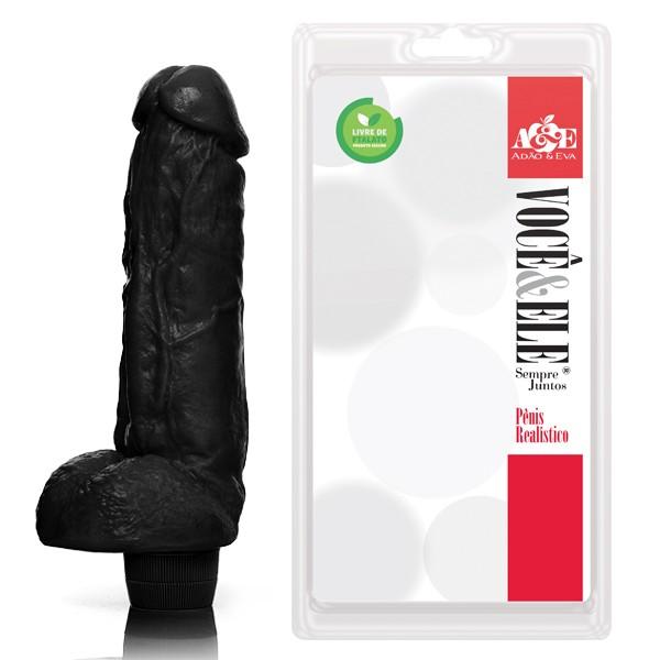 Pênis Realístico Kong Com Escroto E Vibrador Preto 19,5cm