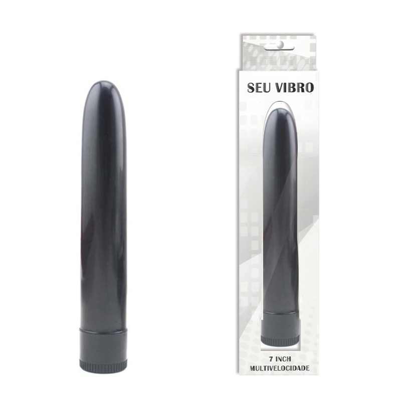 Vibrador Personal Liso 17,5 cm Multivelocidade - Preto