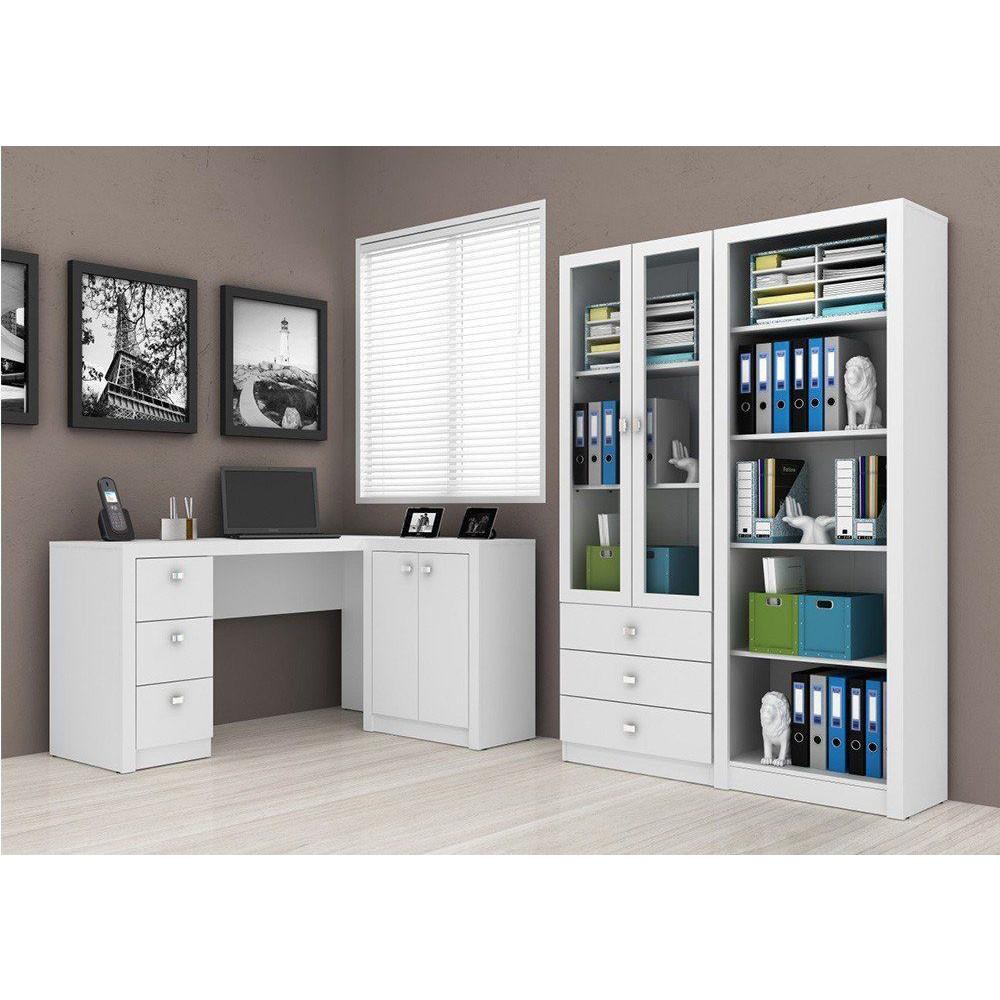Ambiente para Home Office 04 Peças Branco - Tecno Mobili