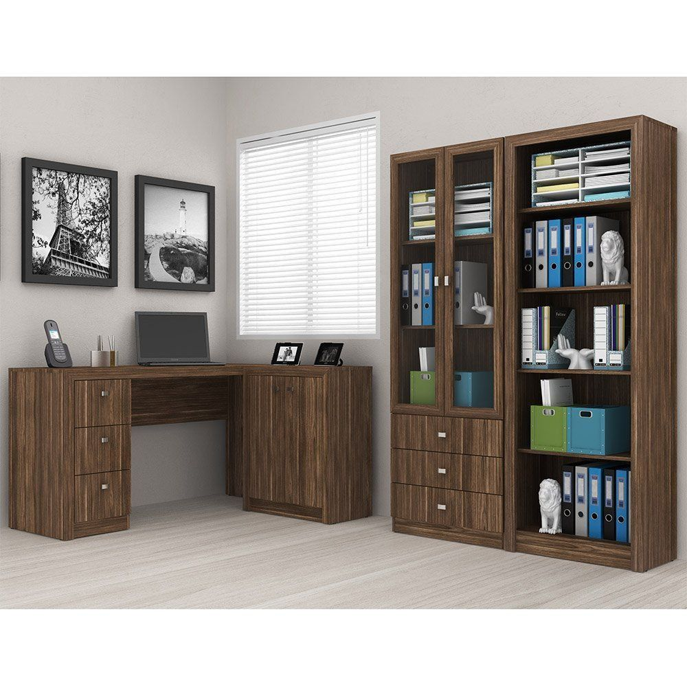 Ambiente para Home Office 04 Peças Nogal - Tecno Mobili