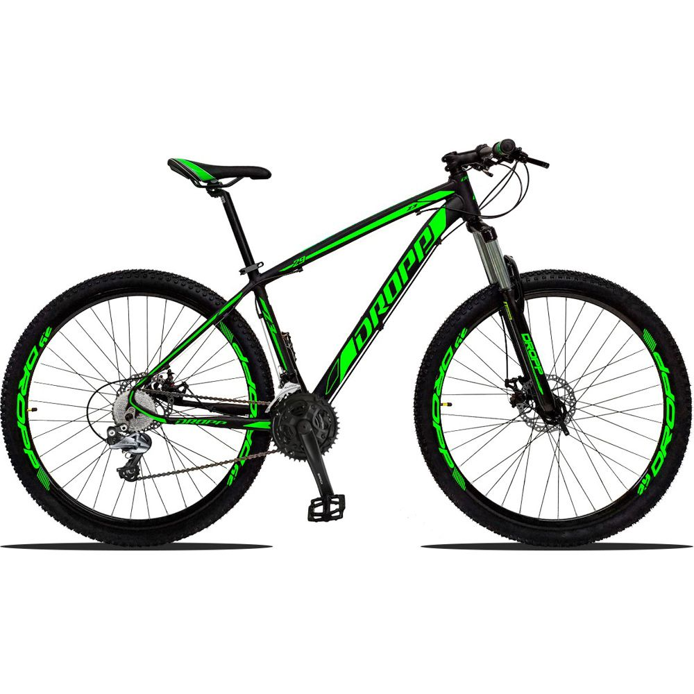 Bicicleta Aro 29 Alumínio 27v Quadro 17 Freio Disco Hidráulico Z3 Preto Verde - Dropp