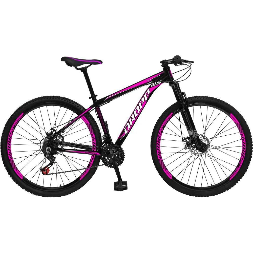 Bicicleta Aro 29 Freio a Disco Mecânico Quadro 15 Alumínio 21 Marchas Preto Rosa - Dropp